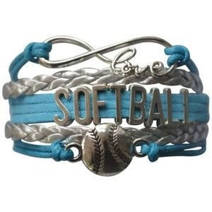 Girls Softball Bracelet - Turquoise & Silver